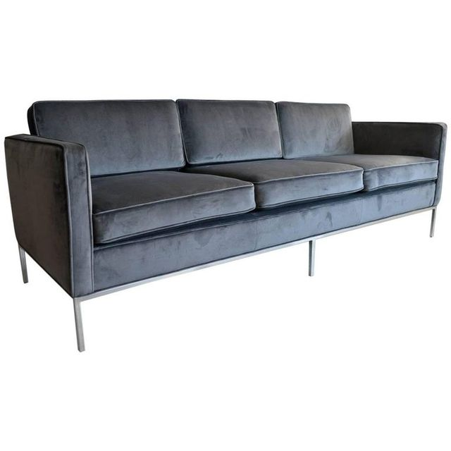 Charcoal Grey Velvet Knoll 3 Seat Sofa, ca. 1970
