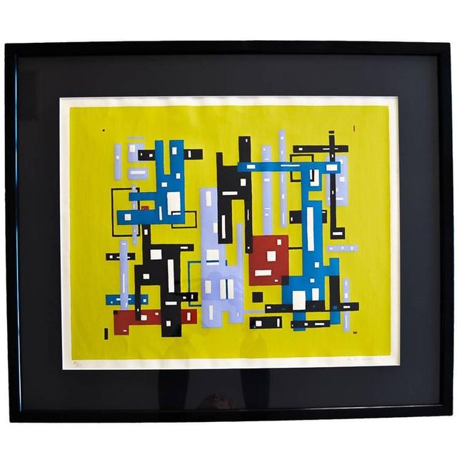 Original Abstract Serigraph by Charles-Oscar Chollet 1956