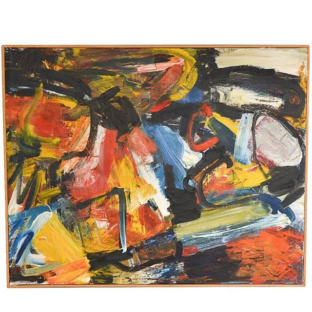 Original Oil on Canvas Abstract Painting in the Manner of De Kooning