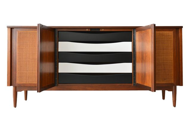 Walnut and Cane Credenza by Dillingham