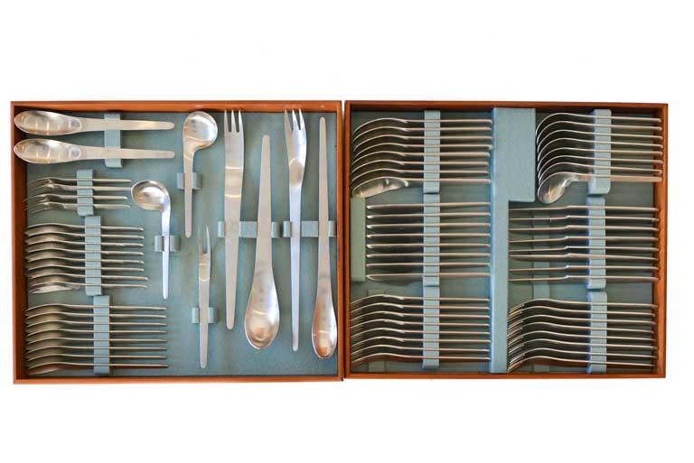 Early 77 pc. set of Arne Jacobsen for Anton Michelsen Flatware, ca. 1958