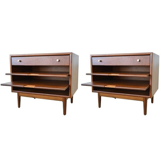 Pair of Kipp Stewart Walnut Nightstands with Pull Out Magazine Shelves, ca 1965