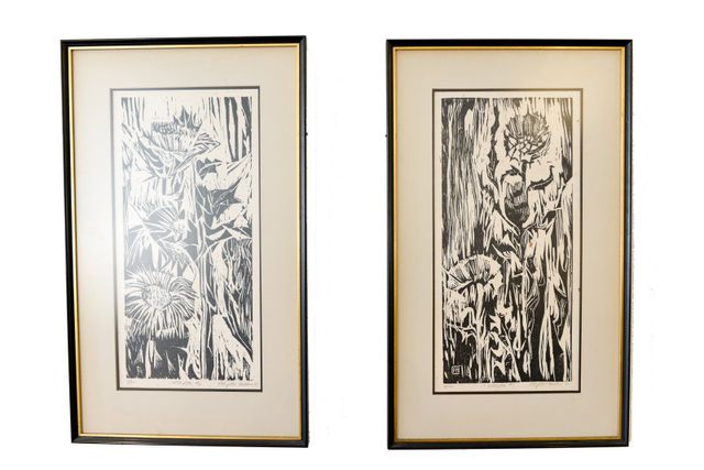 Original Signed Woodblock Prints by Artist Phyllis Miller, 1961