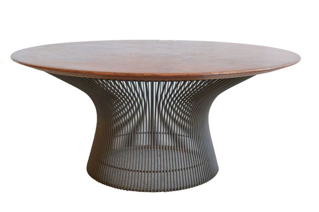 Warren Platner for Knoll Bronze and Walnut Coffee Table