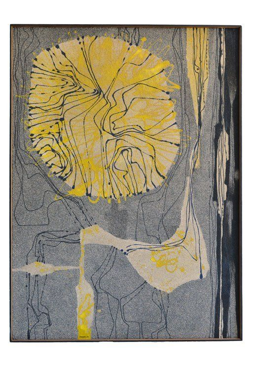 Enamel and Sand Painting by California Artist Robert McChesney, 1959