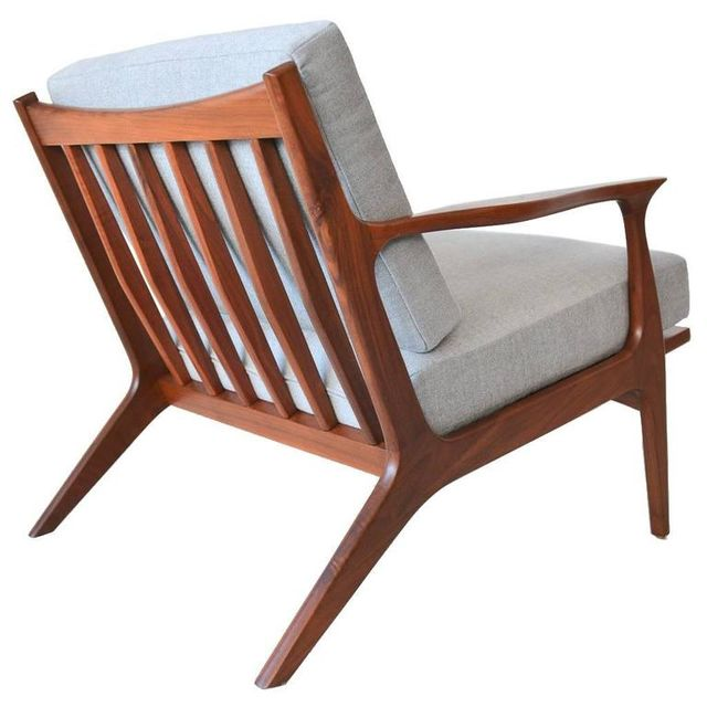 Sculpted Walnut Spindle Back Lounge Chair, ca. 1960