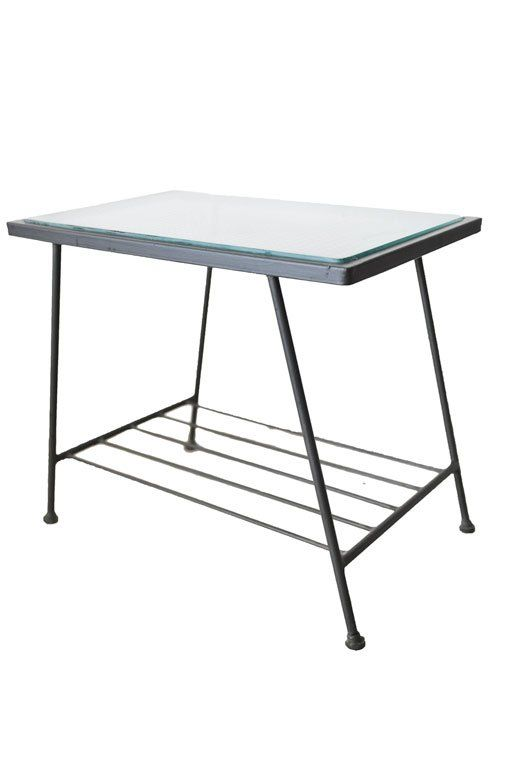Iron and Glass End Table by Inco Company of California, ca. 1955
