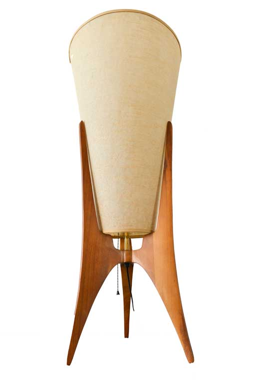 Atomic Tripod Table Lamp with Original Grasscloth Shade, ca. 1955