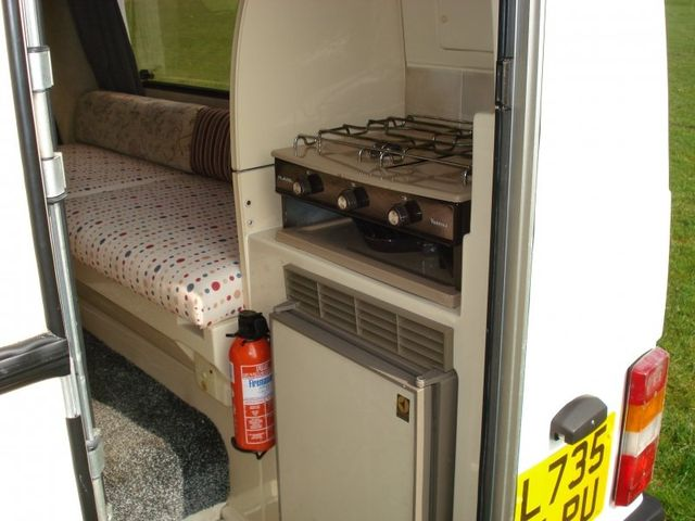 Cooking area in a motorhome