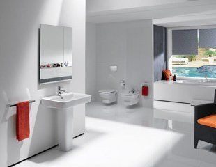 Stylish, minimalist white bathrooms with contemporary fittings