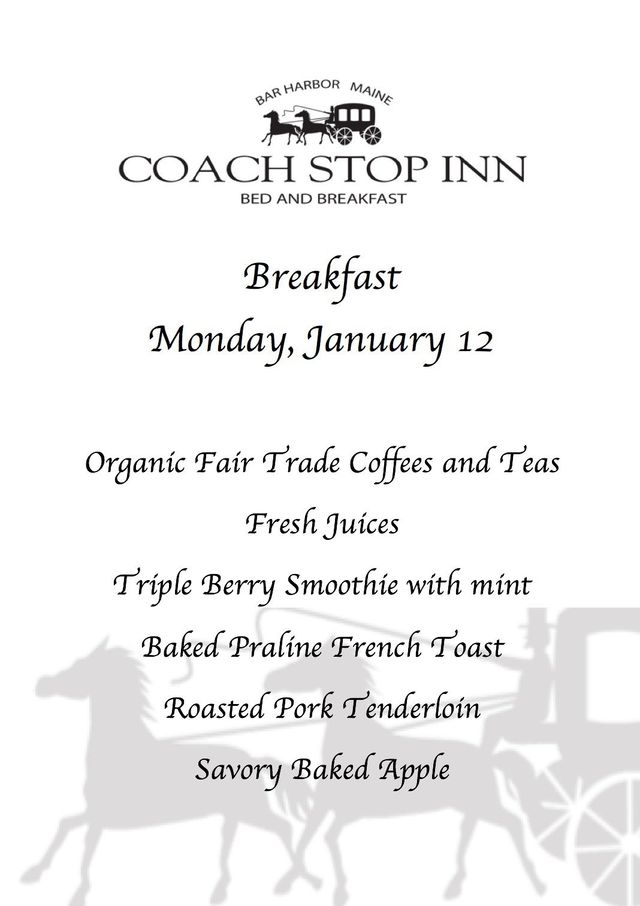 Breakfast menu at coach Stop Inn Bed and Breakfast