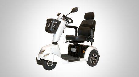 stylish white three wheeled mobility scooter