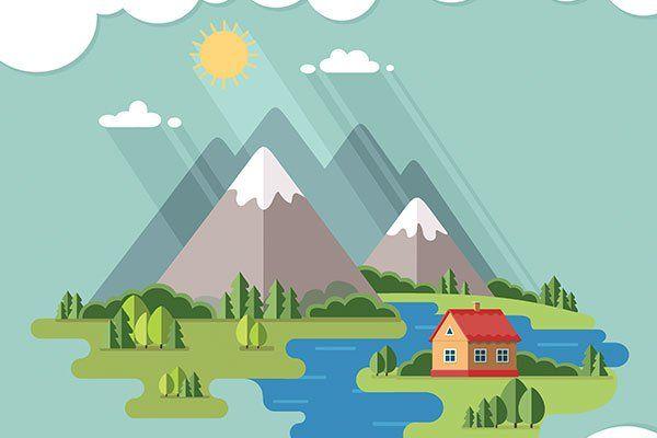 immagine di una casa accanto a un fiume ed ai piedi di montagne