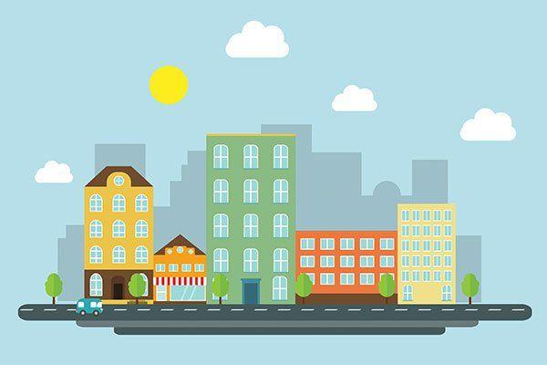 immagine urbana di una strada con case