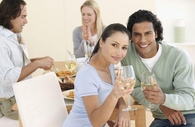 Couple enjoying their take away dinner