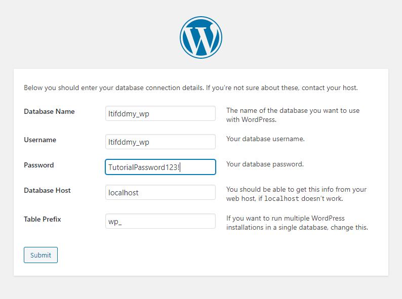 WordPress Install Database Information