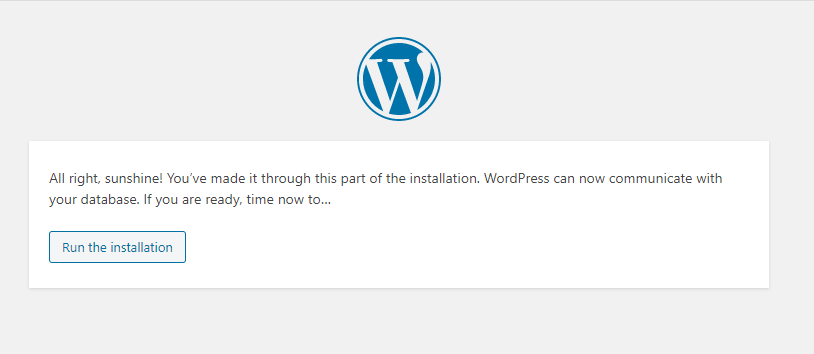 Run Install - WordPress
