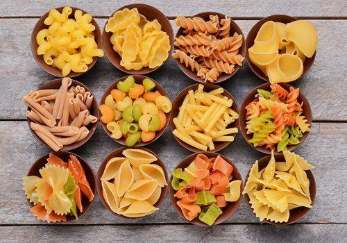 Piatti con vari tipi di pasta
