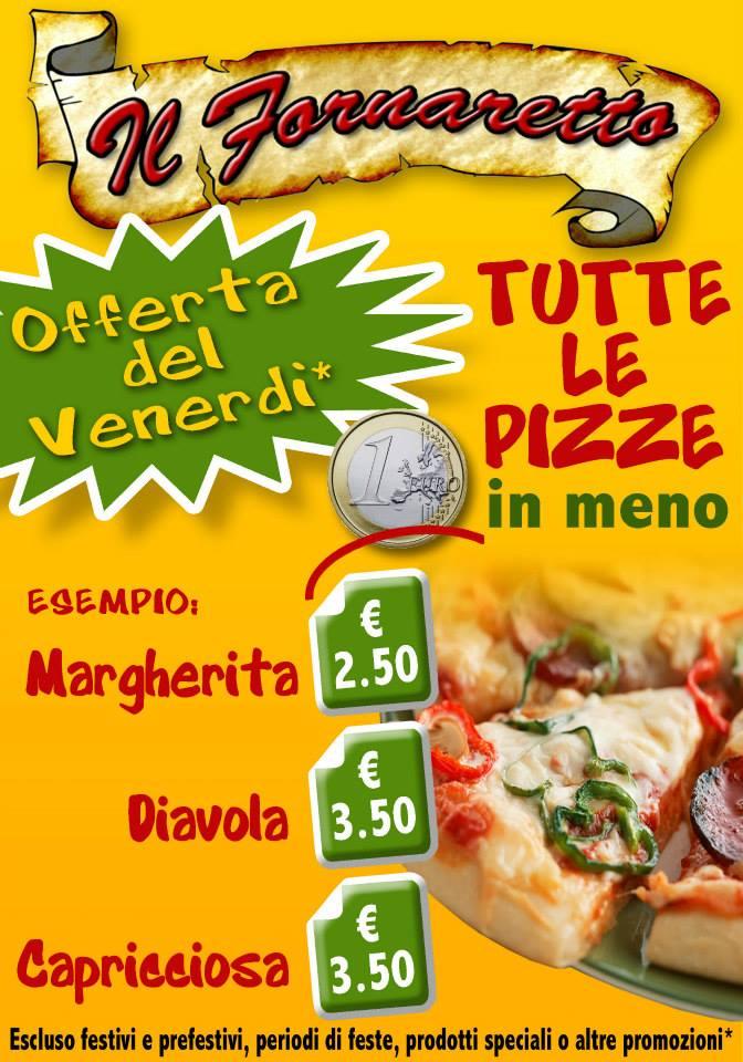 locandina dell'offerta pizza del venerdì