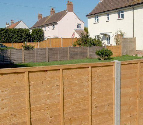 Panel and post fencing in back gardens