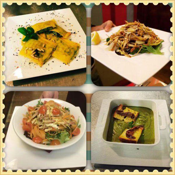 foto di un piatto di ravioli, un piatto di verdure, un piatto di un'insalata mista con pomodori e un'altra specialita'
