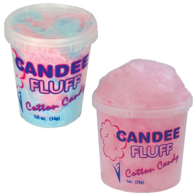 prepackaged cotton candy containers