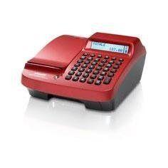 un registratore di cassa rosso