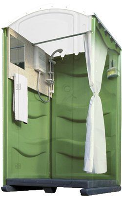 Cutaway photo showing inside of a portable shower cubicle