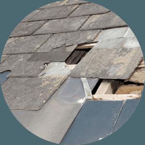 Broken tiles on a roof