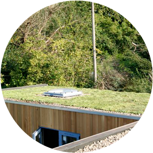 A grassed green roof with stone chippings and a sky light