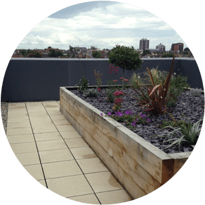 A safe roof garden with a wall surround on a retirement home
