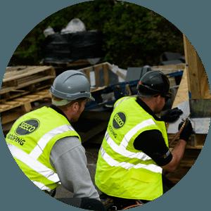 SEECO Roofing work men applying metalwork