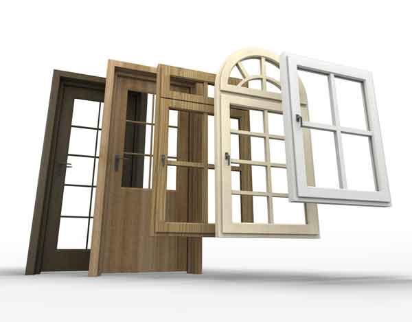 Diversi modelli di porte e finestre in legno o pvc