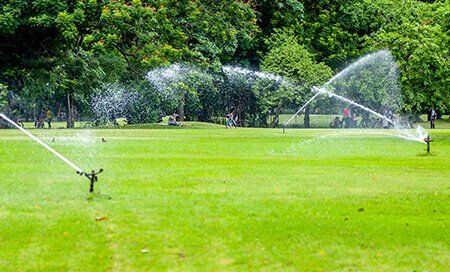 Sprinklers, installed by The Sprinkler Connection, watering a golf course