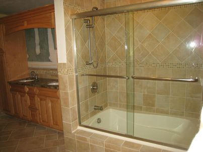 ... New Shower, Sink, And Cabinets In Remodeled Bathroom ...