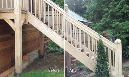 Sandblasting on wooden staircase