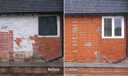 Chemical cleaning exterior walls
