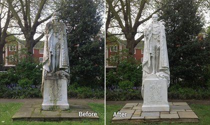 Doff cleaning on statue