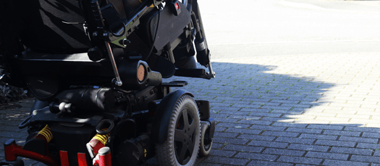 Close-up of a mobility scooter
