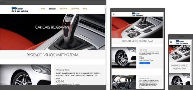 car valeting website design