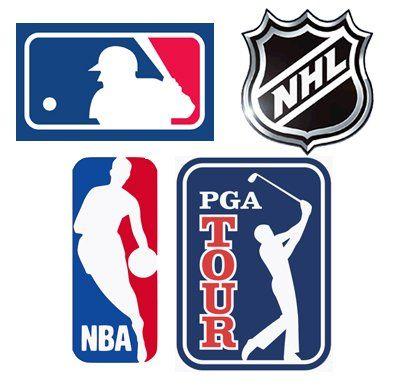 Major League Baseball, NBA, NHL, and PGA Tour logos