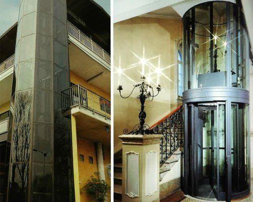ascensore in vetro dentro palazzo storico