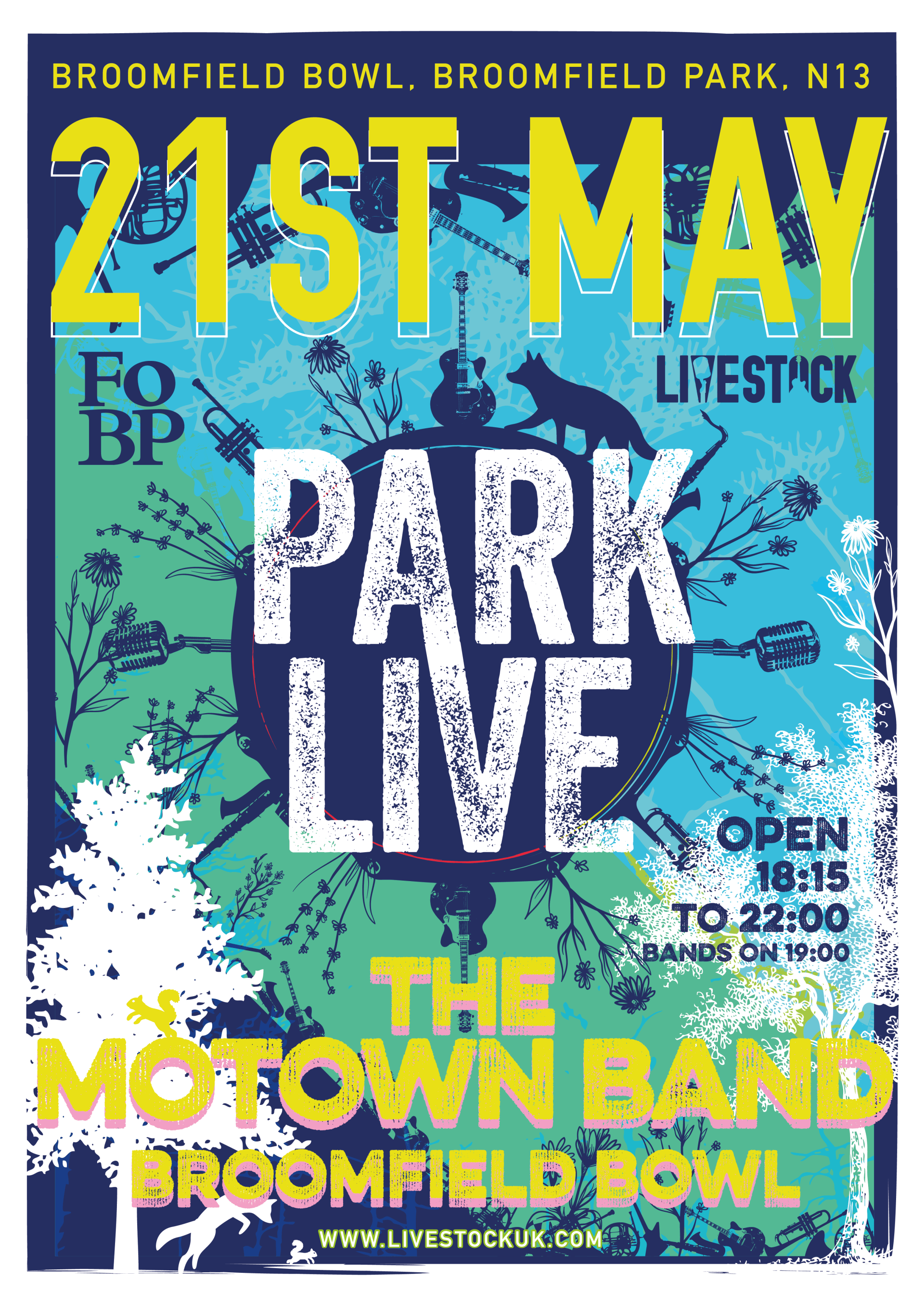 poster or flyer advertising event Park Live: The Motown Band