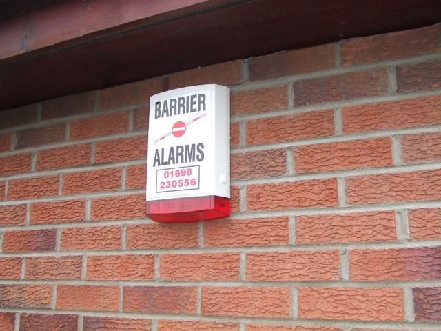 burglar alarm fitted on the wall