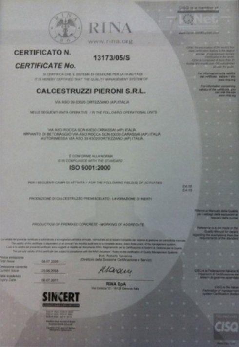 Attestazione ISO 9001 di Calcestruzzi Pieroni
