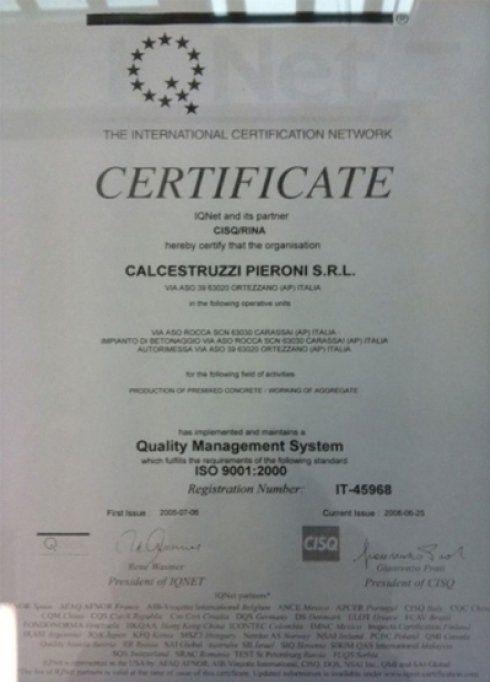 Certificato Quality Management System rilasciato a Calcestruzzi Pieroni