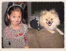 Pomeranian with child