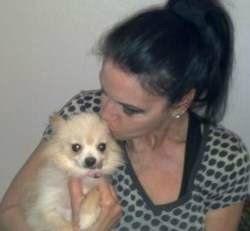 Pomeranian rescue owner holding Pom