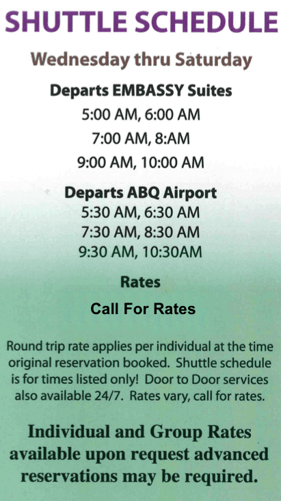 Embassy Suites ABQ airport shuttle service