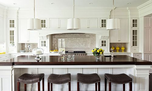 A classic kitchen with a breakfast bar and wooden stools
